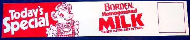 ELSIE BORDEN HOMOGENIZED MILK PAPER SIGN ncs-110