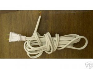 Lamp part  8' white cord for wiring table lamps