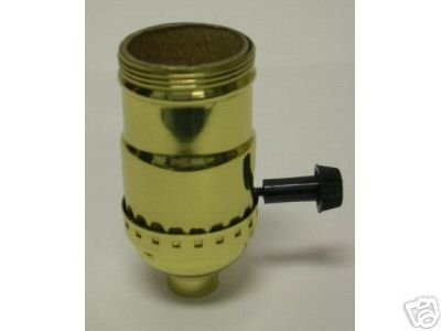Lamp parts: Solid brass 3-way socket to wire lamp (TR-426)