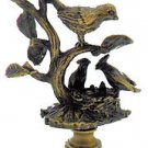 """Lamp parts: ANTIQUE BRASS """"BIRDS ON A NEST"""" LAMP SHADE FINIAL"""