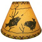 "Rustic 14"" laced lamp shades with fish scene"