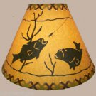 """Rustic 16"""" laced lamp shades with fish scene"""