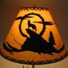 "Lot of 4 rustic 16"" laced lamp shades with coyote scene"