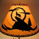 "Rustic 16"" laced lamp shades with coyote scene"
