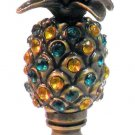 antique brass lamp shade finial with green & amber glass