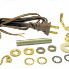 """LAMP PART KITS: 8' BROWN CORD, OFF/ON BROWN PULL-CHAIN SKT, NECK, 7"""" HARP"""