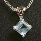 1 Carat Princess cut Genuine Blue Topaz Pendant