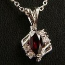Genuine Garnet and Diamond cz Pendant