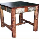 Rustic Adirondack Log Birch Bark Twig End Table