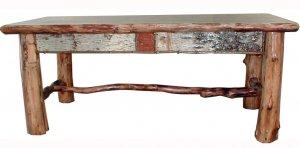 Rustic Adirondack Log Birch Bark Twig Coffee Table