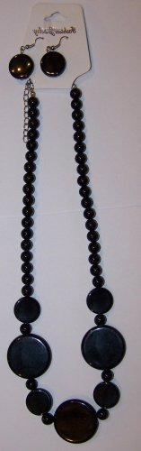 Black Necklace with Round Flat Beads