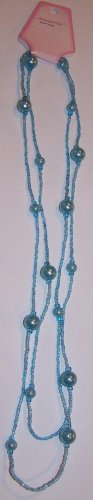 Long Blue Beaded Necklace