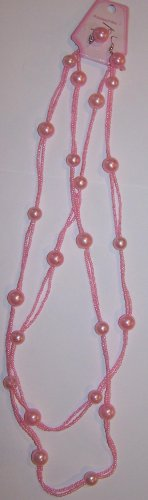 Long Pink Beaded Necklace