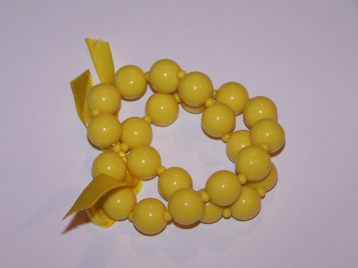 Yellow Double bracelet with Bow