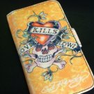 Soft Flip Leather Case Cover for Apple iPhone 3G 3GS Cream with Skull & Heart