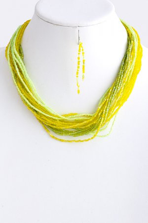Stacked Bead Necklace - Lime NEW