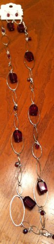 Acrylic Jewel Oval Chain Necklace & Earrings - Red NEW