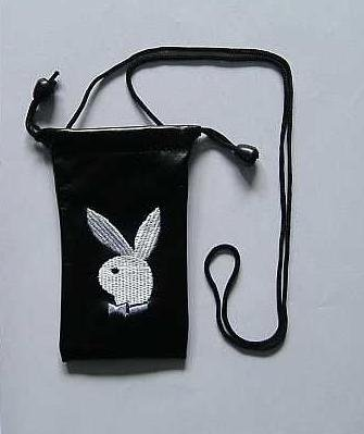 PLAYBOY BUNNY MOBILE PHONE BAG PURSE SILVER WHITE ON BLACK