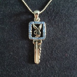 PLAYBOY BUNNY GIRL PENDANT (BLUE) ON CHAIN WITH GIFT BOX