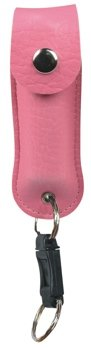 PS-1PNK :PEPPER SHOT PEPPER SPRAY/1/2 oz w/Leatherette Holster and Quick Key Release Key Chain