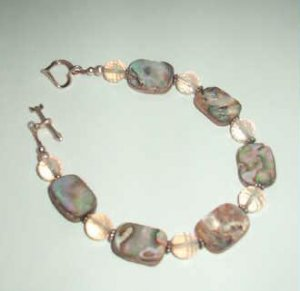 Abalone and Rose Quartz Sterling Silver Bracelet with Heart Closure