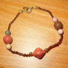 Multi Carnelian Stones w/ Beads Bracelet - Estate Find -