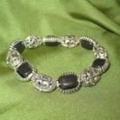 Onyx and Silver Tone Stretch Bracelet