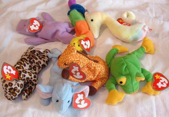 7 Ty Teenie Beanie Babies With Tags 1993 Orig Happy Inch Twigs Peanut Freckles Neon Smoochy