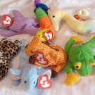 7 Ty Teenie Beanie Babies With Tags 1993 Orig Happy Inch Twigs Peanut Freckles Neon Smoochy