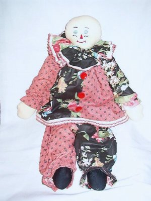 Huge 2 Ft Stuffed Clown Handcrafted in Bright Fun Clothing As New