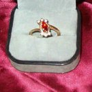 Faux Ruby and Rhinestone Gold Tone Fashion Ring Sz 6 Estate Find