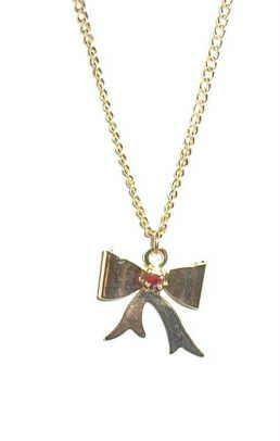Patriotic Golden Bow with Ruby Red Stone Necklace ~ Estate Find