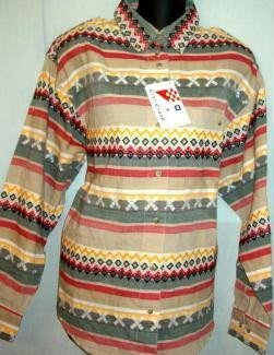 New w Tag Citi Craze Long Sleeve Tailored Shirt Southwest Design Ladies Sz Medium
