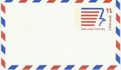 Usps 11 cent Airmail Prestamped Postcard ~ Unused and Mint