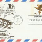 Usps 18 cent Airmail fdi Postcard: Miami Florida 1/4/74 Mint