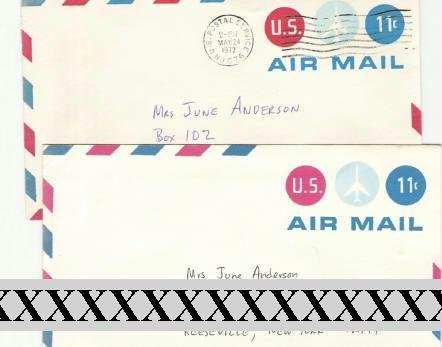 Usps Two 11 cent Airmail Pre~Stamped Envelopes Canceled and Not