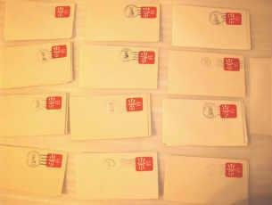 Lot of 13 USPS 15 Cent Pre-Stamped Canceled Envelopes From NY 1979