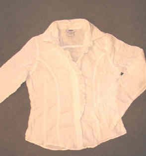 Old Navy Long Sleeve White Frilly Shirt Ladies Junior Size Medium As New