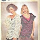 Coats Opera Crochet Lacy Open Weave Pullover Sweater Pattern Clean 1993