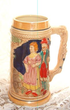 Beer Mug Stein Vintage Stamped Japan Lusterware European Scene of Couple