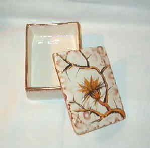 Vanity or Dresser Jewelry Cigarette Box Box Hand Painted in Italy Porcelain