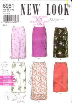 Simplicity New Look Pattern 6981 Six Skirt Variations Sizes A 6-16