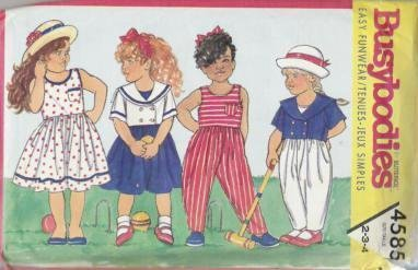 Uncut Butterick Girls Busybodies Funwear Top Dress Pants Pattern 4585