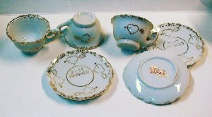 Lot of 3 Sets of Just Married Miniature Cups and Saucers - Gold on White Porcelain