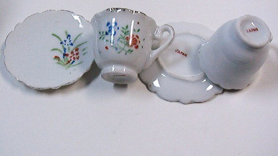 Two Sets of Miniature Teacups and Saucers Marked in Red Japan - Vintage