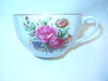Antique Teacup Red stamped Japan Garden Floral Pattern Mint