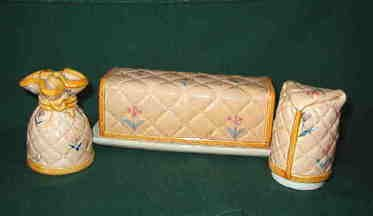 Ron Gordon Cozy Covers Salt Pepper Shakers with Matching Covered Butter Dish - Japan