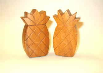 Pineapple Salt and Pepper Wooden Shakers - Nice Condition