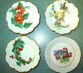Four Antique Butter Pat or Salt Dishes ~1920s Handpainted