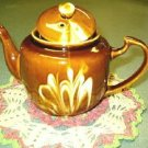 Chinese Teapot ~ Brown Swirl / Drip~ High Gloss _ Vintage